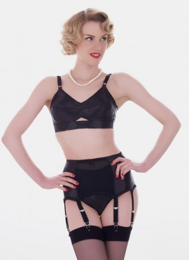 What Katie Did Maitresse Black Satin Garter Belt